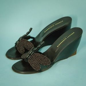 Robert Clergerie 9 Dragonfly Beaded Wedge Sandals